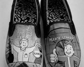 Fallout Vault Boy Cartoon Video Game Painted Sneakers (Simple)