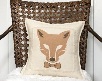 "12"" Fox Pillow - Dapper Fox With Bowtie - Fall Pillow - Woodland Nursery Pillow - Scrappy Frayed Pillow - Cotton Canvas - Insert Included"
