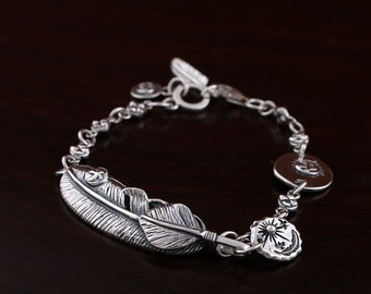 Bird Feather Chain Bracelet Sterling SIlver