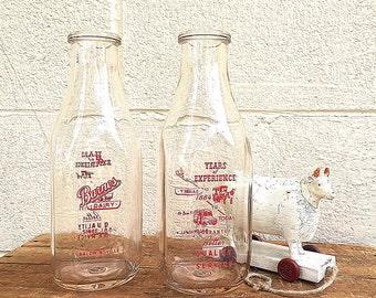 CHOICE of Glass MILK BOTTLE | Vintage c.1940's Quart Milk Bottle | Old Retro Milk Bottle | Barnes Dairy Baldwinsville, N.Y. | Old Milk Truck