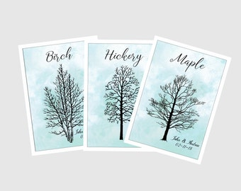 Winter Table Cards, Table numbers, Tree silhouettes, Winter Wedding, Winter Table Numbers, Bare Tree design, tree silhouette W110