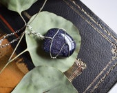 Blue Sandstone Necklace, Blue Goldstone, Canadian, Blue Sparkle Stone, Wire Wrapped Stone, Polished Stone, Healing Stones, Canadian Shop