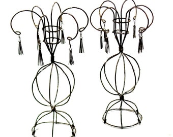 antique French Wire Tasseled Candlesticks, Rare form French Wire Works, French Antiques, French Table setting
