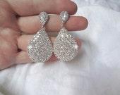 Crystal teardrop earrings ~ Brides earrings ~ Large teardrops ~ SPARKLY ~ Sterling Silver posts ~ Bridesmaids ~ Prom ~ Gift ~ BEST SELLER ~