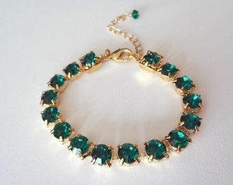 Gold emerald crystal bracelet - Tennis bracelet - May Birthstone - Irish - Bridal jewelry - Emerald green crystals - Bridesmaids - Gift
