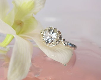 White Topaz Solitaire Ring, White Topaz Ring, Natural White Topaz, Sterling Silver Ring