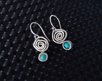 Sterling Silver Spiral Earrings. Turquoise Earrings. Dainty Dangle Earrings. Spiral Drop Earrings. Everyday Minimal Jewelry. Gift for Her