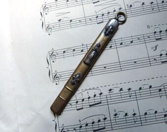 Rare Antique French religious pencil pendant w Holy virgin Mary icon pen w fleur de lys lis flower our lady of Lourdes holy Mother souvenir