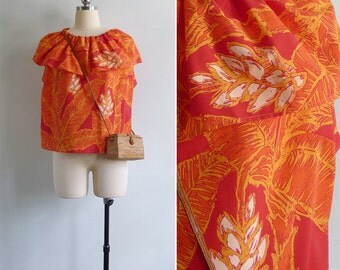 Vintage 70's 'Tropical Paradise' Palm Leaf Print Flounce Shell Top XL or XXL (Plus Size)