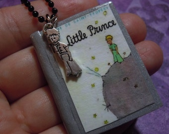Book Necklace, The Little Prince, Book Pendant with Charm, Literary Jewelry