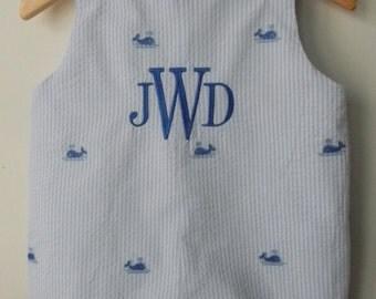 Alligator Boats Crab Whale Embroidered Seersucker Jon Jon Boys