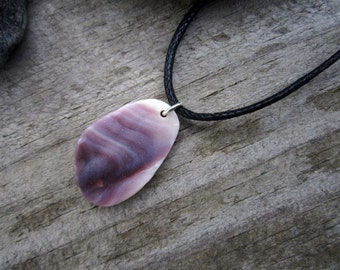Wampum Pendant - Beach Combed Purple Quahog Shell 3 - Hand Polished Suckáuhock