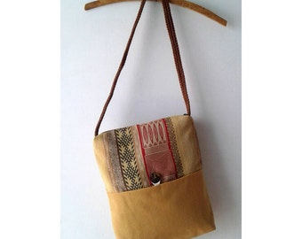 Messenger Bag / Shoulder Bag / Mustard Purse / Ethnic Textile Earth Colors / Tribal Upholstery Fabric Medium Size Purse / OOAK Purse