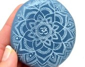 XL ANGELITE Palm Stone w Om Mandala Laser Etching Natural Crystal Guardian Angel Healing Crystals and Stones Angelite Crystal #FL3