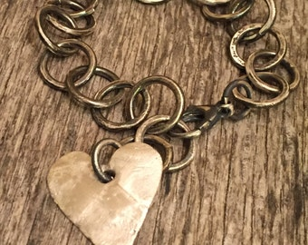 Urban Raw Silver - Hand Forged Chain and Link - Heart Charm - Artisan Handmade - Rustic Heavy Link Bracelet