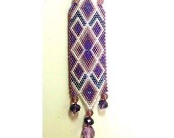 Sun Catcher - Shades of Purple Diamonds Woven Strip - OOAK 1632