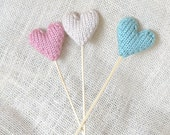 Hearts on a Stick, Set of 3, Baby Shower Decor, Wedding Decor, Photo Prop, Nursery Decor, Birthday Decor, Table Decoration