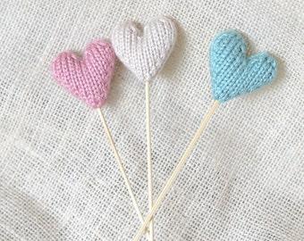 Hearts on a Stick, Set of 3, Baby Shower Decor, Wedding Decor, Photo Prop, Nursery Decor, Birthday Decor, Table Decoration