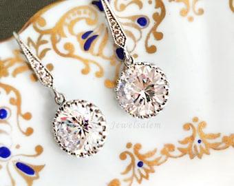 Silver Earrings Wedding Earrings Bridal Earrings Clear Glass Crystal Earrings Cubic Zirconia Earrings Modern Elegant Simple Statement C1