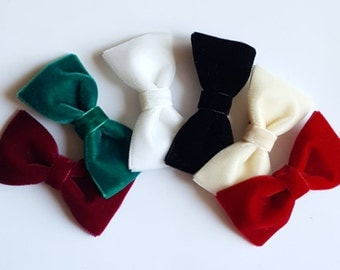 velvet hair bows --velvet tuxedo bow for babies toddler big girl bows--wedding toddler baby chtistmas gift idea
