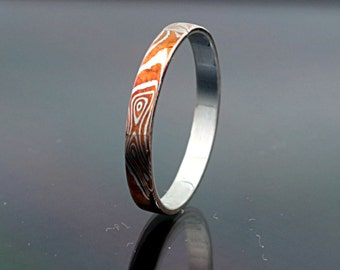 2mm Mokume Gane Ring Band mokume Ring Mokume Wedding Band mokume gane ring mokume wedding ring petite mokume ring stack mokume ring