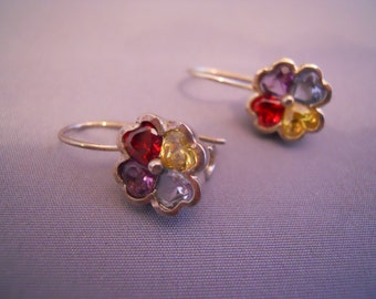 Unique Sterling Silver Semi Precious  Gemstone Earrings