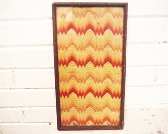 Hombre stitchery antique 1900's red yellow peach framed needlework needle point sampler unusual wall art shabby