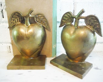 Vintage brass apple shaped brass bookends pair two shabby teacher doctor healthy eating