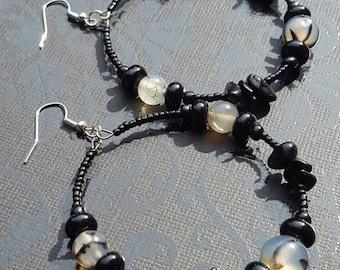 Black Dragon Vein Agate Beaded Hoop Earrings