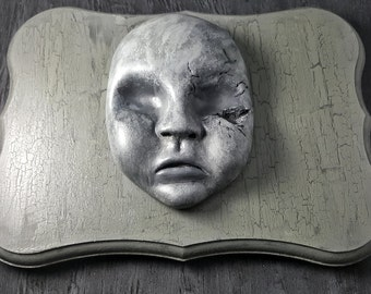 Haunted Baby Doll Face Wall Plaque Ready To Hang!