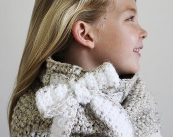 Crochet Pattern: The Anna Cowl -Toddler, Child, & Adult Sizes- chunky, bow, scarf
