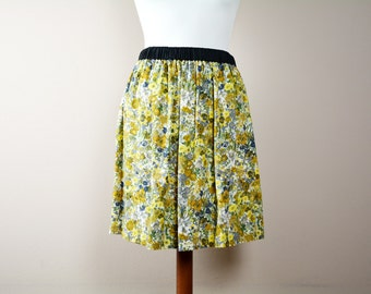 Yellow flower skirt, midi skirt, ruffle skirt, yellow skirt, aline skirt, boho skirt, vintage inspired, bohemian skirt