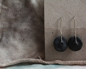 Back to the earth. Black Ceramic/silver Earrings