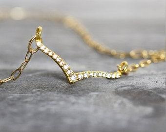 Wishbone Necklace - Cubic Zirconia Necklace - Dainty Gold Necklace - Minimalist Jewellery - Layering Jewelry - Elegant Necklace