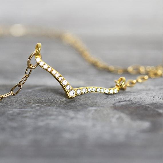 Wishbone Necklace - Cubic Zirconia Necklace