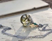 Real Moss Resin Orb Pendant with Silver Moss Pendant