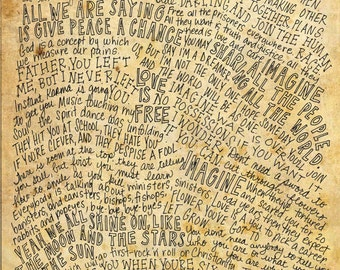 John Lennon Lyrics and Quotes - 8x10 handdrawn and handlettered print on antiqued paper rock music lyrics