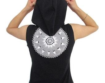 Summer Mandala Hoodie / Organic Cotton Dress / Navy Blue Mini Dress