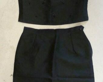 black sateen SHELL and PENCIL SKIRT set black 1960's 60's wiggle dress M