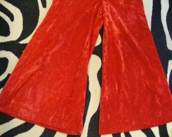 insane RED velvet PALAZZO wide leg PANTS 1970's high waisted M