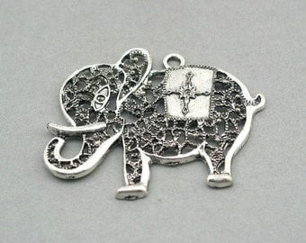 Filigree Elephant Charms Large Antique Silver 1pc pendant bead 45X53mm CM0310S