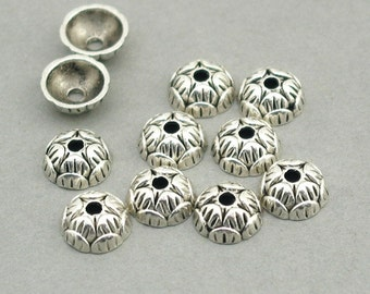 Flower Lotus Bead Caps Antique Silver 12pcs zinc alloy beads 9mm BD0099S