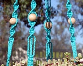 MARRAKESH - Blue Handmade Macrame Plant Hanger Holder with Wood Beads - 4mm Braided Poly Cord in TURQUOISE