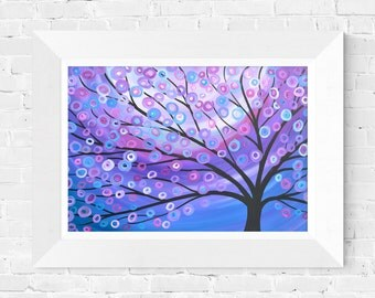 Purple Tree Print - Abstract Tree Wall Art Print - Fine Art Giclee Print of Abstract Tree in Purple, Lilac, Pink, Silver, White, and Blue