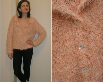 Vintage 90s peach lapel fuzzy cropped cardigan sweater, size S-M