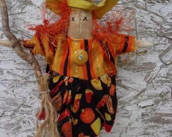 Primitive HALLOWEEN HELGA Witch Shelf Sitter Doll with Orange Hair