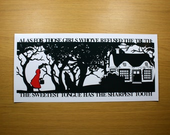 Red Riding Hoods Folly Signed PaperCut Print •Little Red Riding Hood •Fairytale Wall Art • Paper Cut Quote