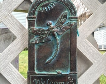 Dragonfly Arched Welcome Plaque
