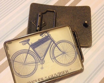 Large Suede Blue Vintage Bicycle Belt Buckle for Men- Discounted