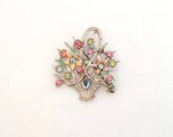 Vintage Brooch Flower Basket Brooch